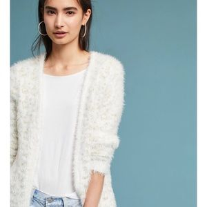 Sweaters - White Eyelash Cardigan